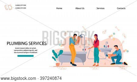 Plumbing Service Website With Repairman And Client, Flat Vector Illustration.