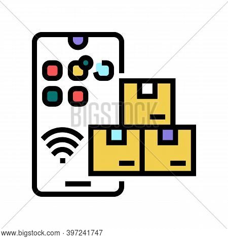 Phone Supply Chain Management Color Icon Vector. Phone Supply Chain Management Sign. Isolated Symbol