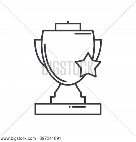 Gold Cup Winner Icon, Linear Isolated Illustration, Thin Line Vector, Web Design Sign, Outline Conce
