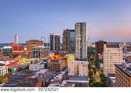 Birmingham, Alabama, USA downtown city skyline at twilight.