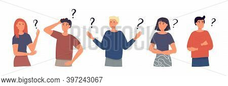 Concept Of Inquiry, Frequently Asked Questions, Looking For Assistance, Help, Thinking. Female And M