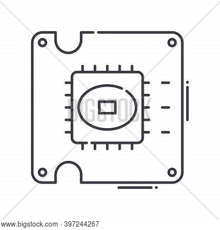 Ic Voltage Socket Icon, Linear Isolated Illustration, Thin Line Vector, Web Design Sign, Outline Con