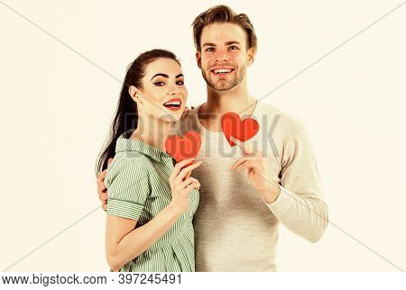 Valentines Day And Love. Romantic Feelings Concept. Man And Woman Couple In Love Hold Red Heart Card