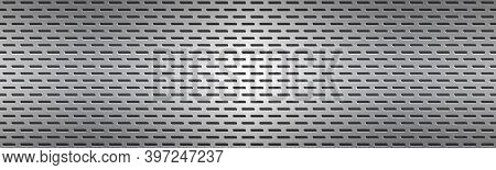 Structured Silver Perforated Metal Texture Header. Aluminium Grating. Abstract Metallic Banner. Vect