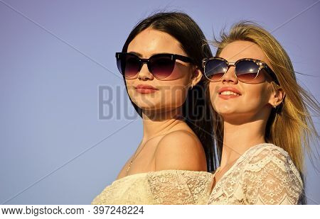 Femininity Concept. Beautiful Women On Sunny Day Blue Sky Background. Sisterhood And Female Communit