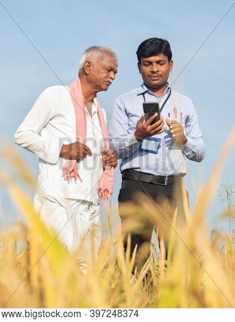 Farmer And Banker Or Corporate Government Officer Discussing By Looking Into Mobile Phone About Crop