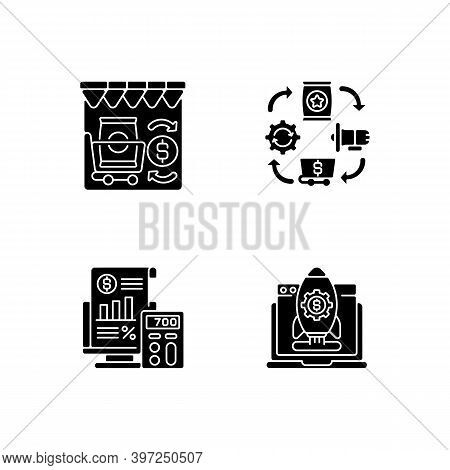 Business Management Black Glyph Icons Set On White Space. Retail Trade, Logistics Organization, Star