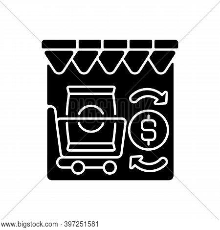 Retail Trade Black Glyph Icon. Commercial Business, Customer Service, Consumerism Silhouette Symbol