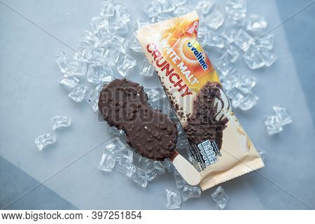 Bangkok, Thailand - November 30, 2020 : Ovaltine White Malt Crunchy Ice Cream Stick, Delicious Ice C