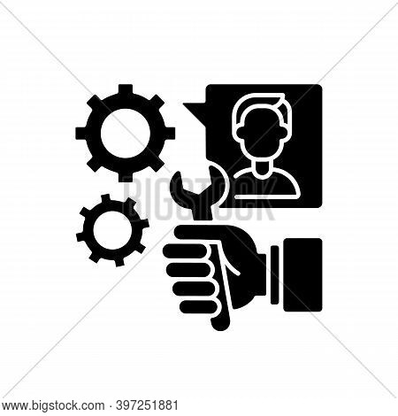 Providing Services Black Glyph Icon. Professional Maintenance And Customer Support Silhouette Symbol