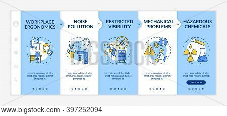 Workplace Safety Concerns Onboarding Vector Template. Workplace Ergonomics. Noise Pollution. Respons