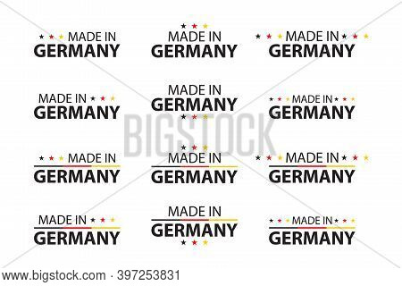 Vector Set Of German Symbols With Flags Isolated On A White Background. Made In Germany. Premium Qua