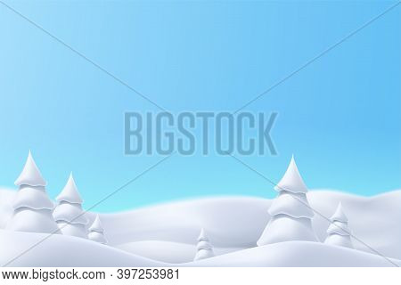 Realistic Snowy Hills With Trees Bright Day