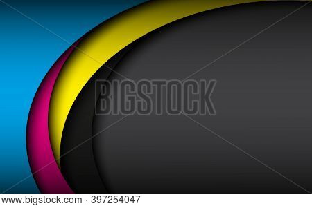 Abstract Wave Vector Background With Ovelayed Sheets Of Paper With Cmyk Colors. Modern Corporate Tem