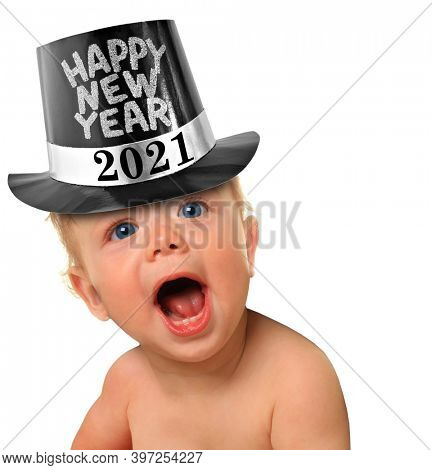 Shouting Happy New Year baby boy. 2021