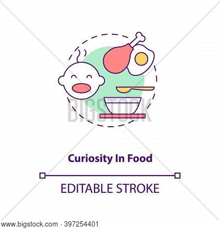 Curiosity In Food Concept Icon. Introducing Baby Food Requirements. Different Foods To Eat. Getting