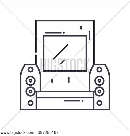 Home Theater Concept Icon, Linear Isolated Illustration, Thin Line Vector, Web Design Sign, Outline