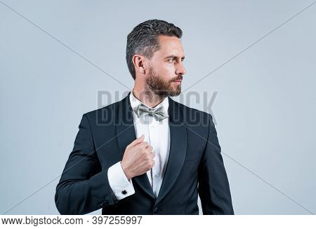 Confident And Successful Man In Tuxedo Bow Tie On Formal Event, Esthete