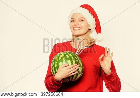 Girl Wear Santa Hat Drink Watermelon Vitamin Cocktail Straw. Winter Vitamin Fruit Ration. Woman Enjo