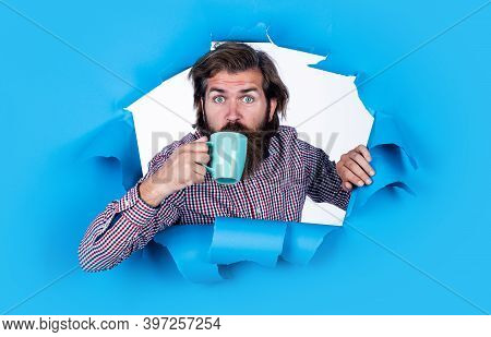 Male Hipster Drink The Tea. Mature Guy With Mug. Hot Beverage Drink. Concept Of Refreshing. Brutal B