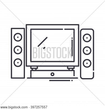 Home Cinema Theater Icon, Linear Isolated Illustration, Thin Line Vector, Web Design Sign, Outline C
