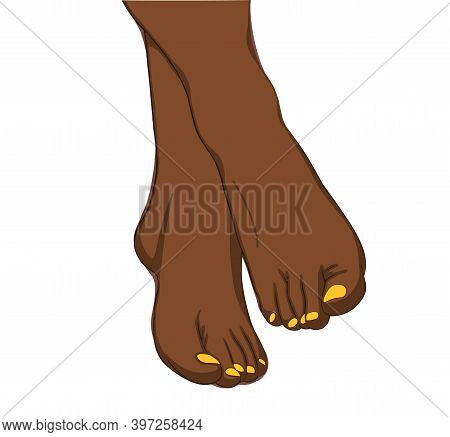 Beautiful With Black Woman Legs, Isolated On Soft White Background. Hygiene Concept. Hygiene Of The