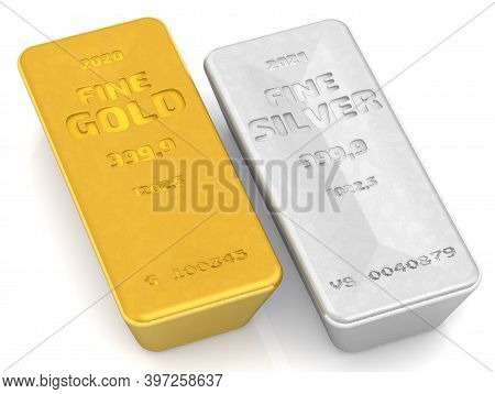 The Highest Standard Gold And Silver Bars. One Ingot Of 999.9 Fine Gold And Fine Silver On White Sur