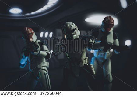 NOV 25 2020: Captain Rex and members of the 332nd Tano division Clone Troopers at the siege of Mandalore - Hasbro action figure