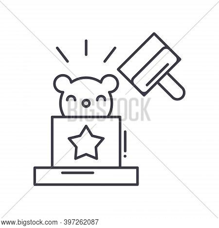 Hit The Mole Icon, Linear Isolated Illustration, Thin Line Vector, Web Design Sign, Outline Concept