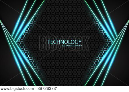 Abstract Triangular Black Shapes With Neon Glowing Lines On A Black Carbon Honeycomb Grid. Bright Ne