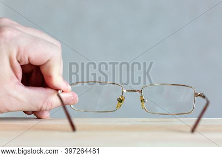 Glasses On A Wooden Background Future Perspective Perspective,