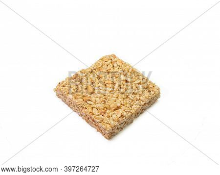 The Close Up Of Homemade Thai Sweet Cereal Bar Candy On White Background, Traditional Muesli Food In