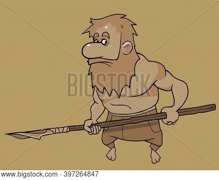 Cartoon Bearded Man With A Homemade Spear In His Hands. Image In Ocher Tones