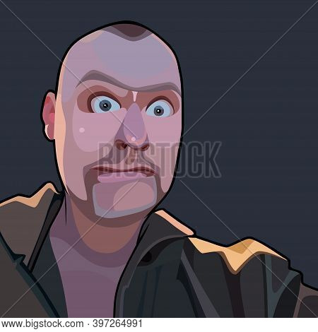 Funny Cartoon Surprised Bald Man With Wide Open Eyes