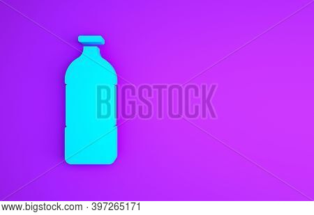 Blue Bottle Of Water Icon Isolated On Purple Background. Soda Aqua Drink Sign. Minimalism Concept. 3
