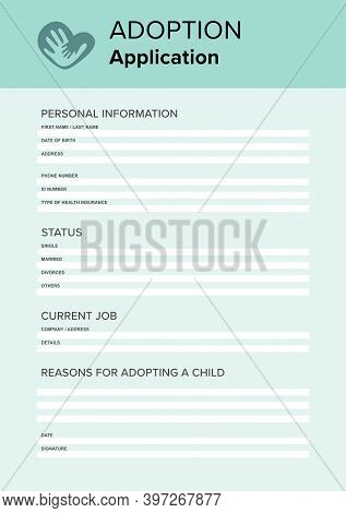 Child Adoption Application. Questionnaire With Space For Answers