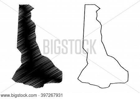River Nile State (republic Of The Sudan, North Sudan) Map Vector Illustration, Scribble Sketch River