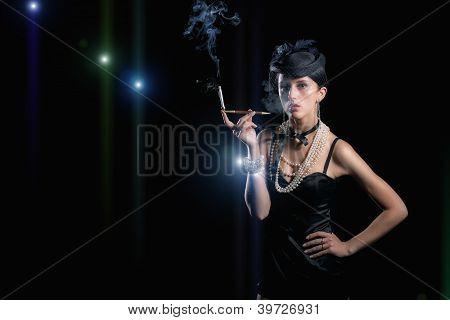 Woman with cigarette vintage hat