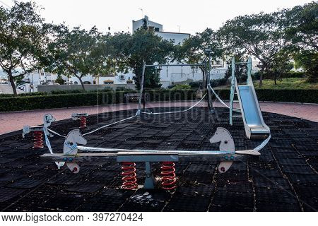 Childrens Playground Area Taped Off During Covid Outbreak