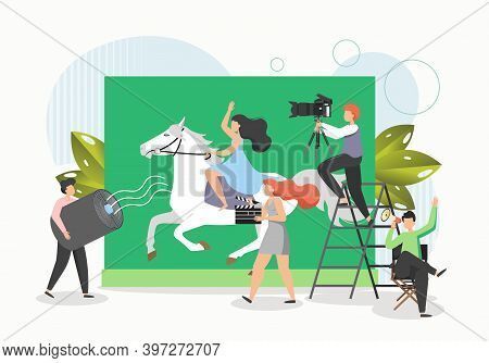 Film Crew Shooting Movie, Flat Vector Illustration. Actress Riding Horse. Cinematography, Filming Pr