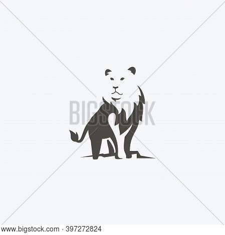 Majestic Lion Standing Proud Simple And Flat Icon Logo Design Vector