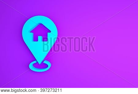 Blue Map Pointer With House Icon Isolated On Purple Background. Home Location Marker Symbol. Minimal