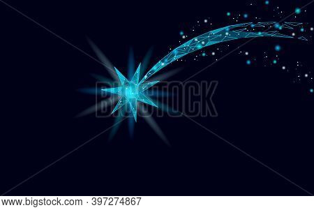 Shooting Star Low Poly Space. Night Christmas Symbol Make A Wish. Astronomy Glowing Comet Magic Fall