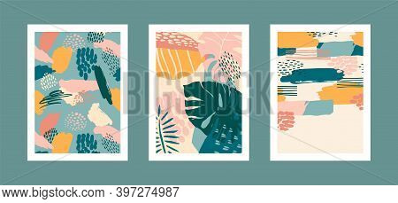 Collection Of Art Prints With Abstract Tropical Leaves. Modern Design For Posters, Covers, Cards, In