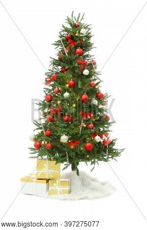 Beautiful Decorated Christmas Tree With Skirt And Gift Boxes On White Background