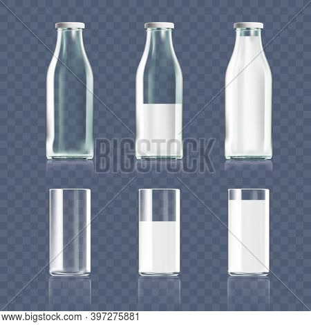 Transparent Clear Glass And Bottle Of Milk