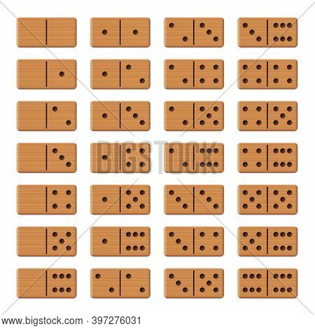 Dominoes - Complete Game Set, Collection Of 28 Arranged Wooden Textured Tiles. Isolated Vector Illus
