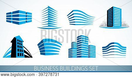 Business Buildings Set, Modern Architecture Vector Illustrations Collection. Real Estate Realty Offi
