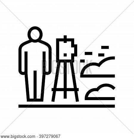 Worker With Lever Researching Place For Building Road Line Icon Vector. Worker With Lever Researchin