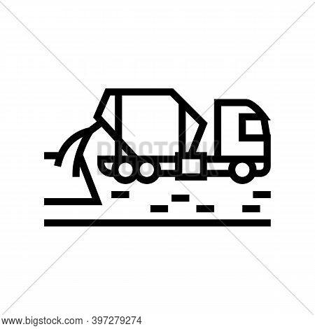 Concrete Mixer Truck Line Icon Vector. Concrete Mixer Truck Sign. Isolated Contour Symbol Black Illu